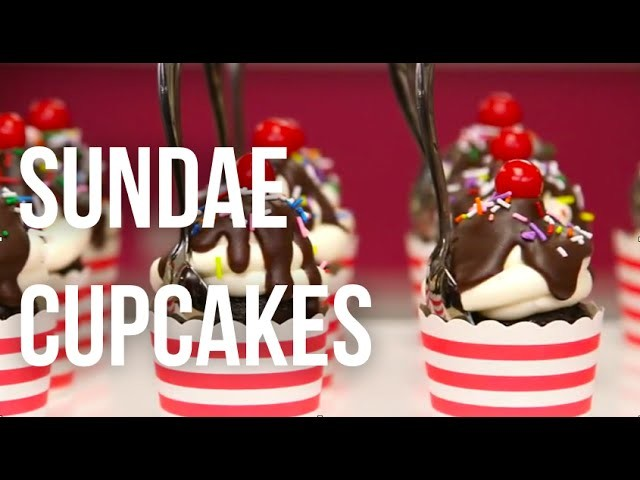 How To Make Ice Cream Sundae CUPCAKES! Chocolate cake, buttercream, chocolate sauce and sprinkles!