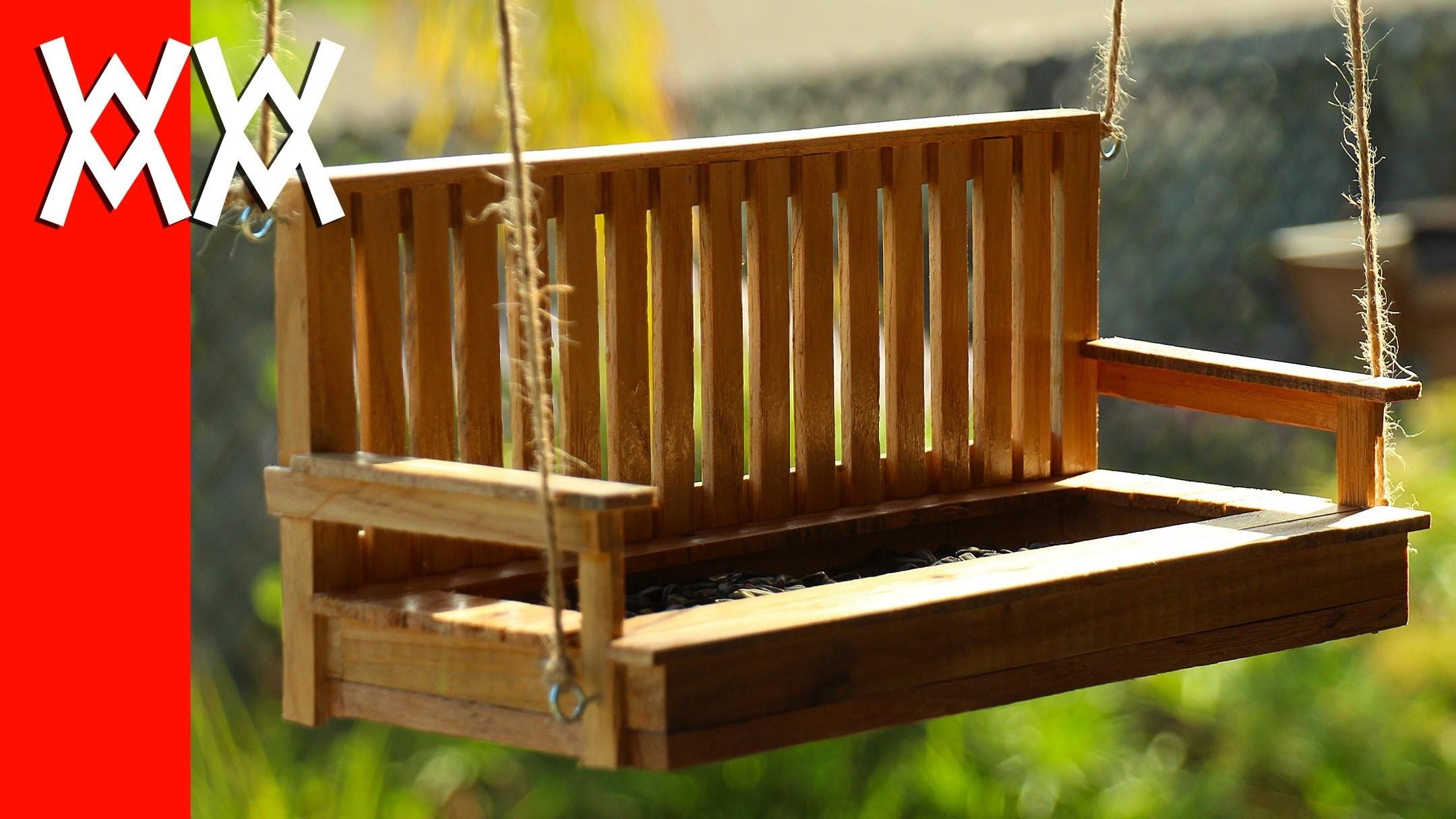Make a porch swing bird feeder. Pallet wood!
