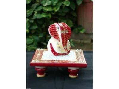 Rich Art And Craft  Chowki Ganesha Marble Statue Gift Jaipur Rajasthan