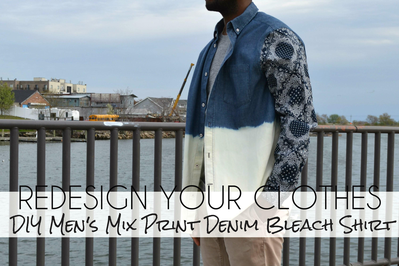 (RYC) 23:DIY Men's Mix Print Denim Bleach Shirt (Part 2)