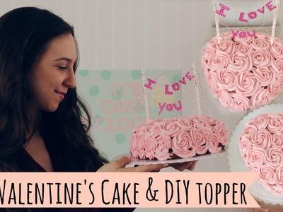 Valentine's Rose Cake & DIY Topper
