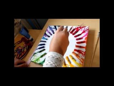 DIY: Crayon Canvas Clock Room Decor !