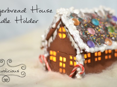 Gingerbread House Candle Holder - Xmas polymer clay TUTORIAL