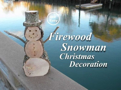 How to make a DIY Firewood Snowman Christmas Decoration