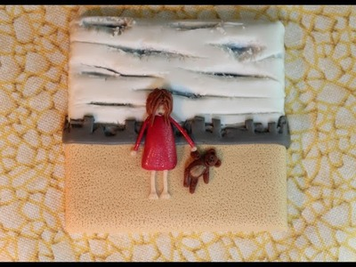 Polymer Clay Mini Picture Series - #4 Girl with Teddy.