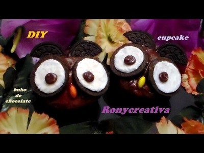 DIY CUPCAKE BUHO DE CHOCOLATE - PANQUECITO DECORADO