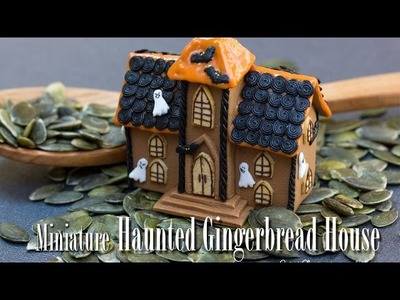 Miniature Haunted Gingerbread House for Halloween, Polymer Clay Art in Time Lapse