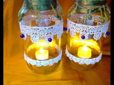 DIY-Candle or Tea Light Holder with Lace and Beaded Trim