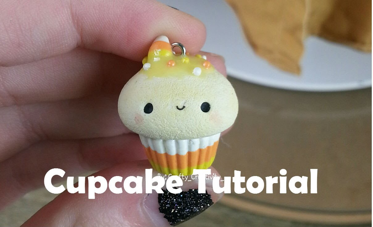 Halloween Candy Corn Polymer Clay Cupcake Tutorial