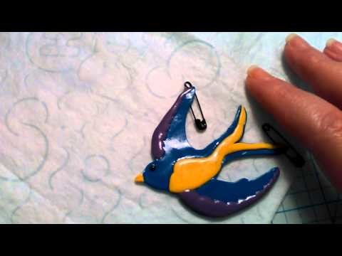 My polymer clay swallow bird necklace