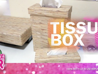 Wood Theme: Tissue Box - Decoration DIY | How to make a tissue box from cardboard