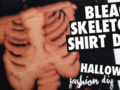 DIY Bleach Skeleton Rib Shirt. HALLOWEEN Fashion DIY