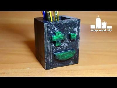 DIY pixel face wooden pencil holder