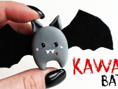 Polymer clay Kawaii Bat Brooch TUTORIAL | Halloween