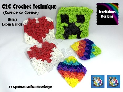 Rainbow Loom Band C2C Crochet - Corner to Corner crochet stitch technique