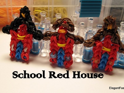 School Red House Charm - How to Rainbow Loom Design - School Series