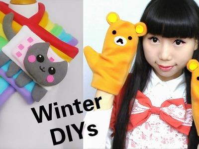 Cute Winter DIYs: DIY Rainbow Nyan Cat Scarf + Rilakkuma Gloves