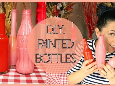 D.I.Y. painted glass bottles - Bottiglie dipinte fai da te