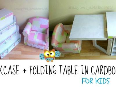DIY ✿ Cardboard bookcase & folding table for children
