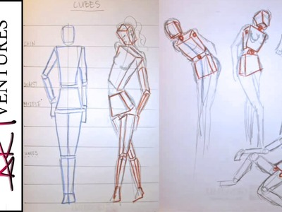 Geometric sketch- structuring the figure and its movements:Fashion Design Drawing Lesson