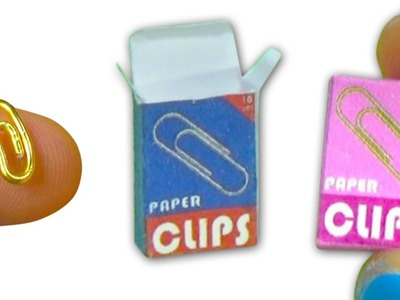Miniature doll paper clips and box tutorial - School supplies - Dollhouse DIY