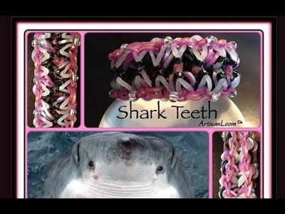 Rainbow Loom Band Shark Teeth Bracelet Tutorial.How To