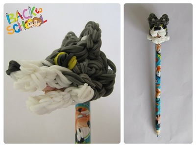 Rainbow Loom wolf pencil topper Loombicious