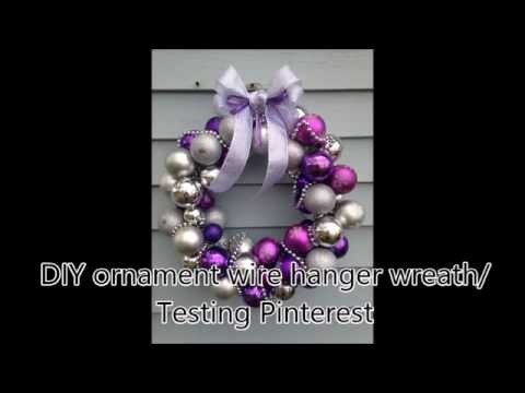 DIY Ornament Wire Hanger Wreath. Testing Pinterest