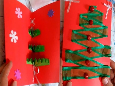 How to Make an Easy Christmas Tree pop up Greeting Card - DIY - Tutorial .