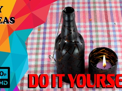 How To Make Decorative Candle Holder From Glass Bottle | DIY | DO IT YOURSELF