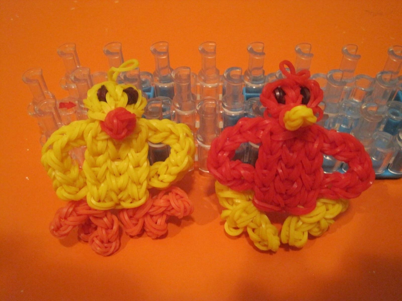 How To .  Rainbow Loom Baby Chick. Bird Charm