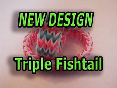 NEW DESIGN, Triple Fishtail, Rainbow Loom, Bracelet, ADVANCED LEVEL, EASY VERSION
