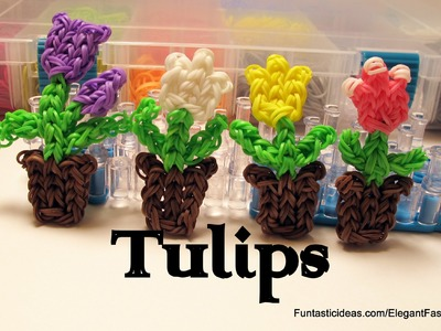 Rainbow Loom Tulip Flowers in the pot Charm - How to - Mother's Day Gift Idea