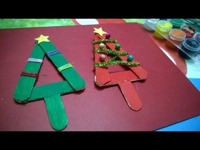 DIY Crafts  - Popsicle Stick Christmas Tree Ornament For Kid