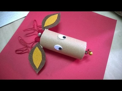 DIY - Reindeer Cork Christmas Crafts For Kids Using Recycled Toilet Paper Rolls