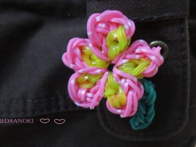 Flor rosa Rainbow loom