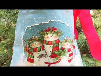 How To Decoupage on Fabric - Snowman gift bag