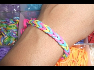 How To Make Rainbow Loom FISHTAIL Bracelet Without Loom(Two Fingers)