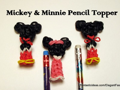 Rainbow Loom Mickey.Minnie Mouse Pencil Topper.Charm -How to