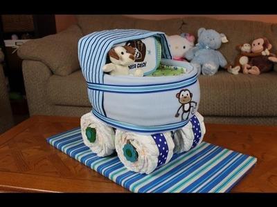 Boys Baby Carriage Diaper Cake