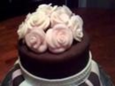 Chocolate Fondant cake with roses- my fourth fondant cake