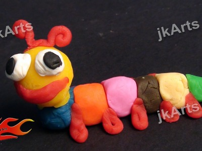 Clay Modelling -  Learn to make Caterpillar in simple way for kids - JK Easy Craft 002