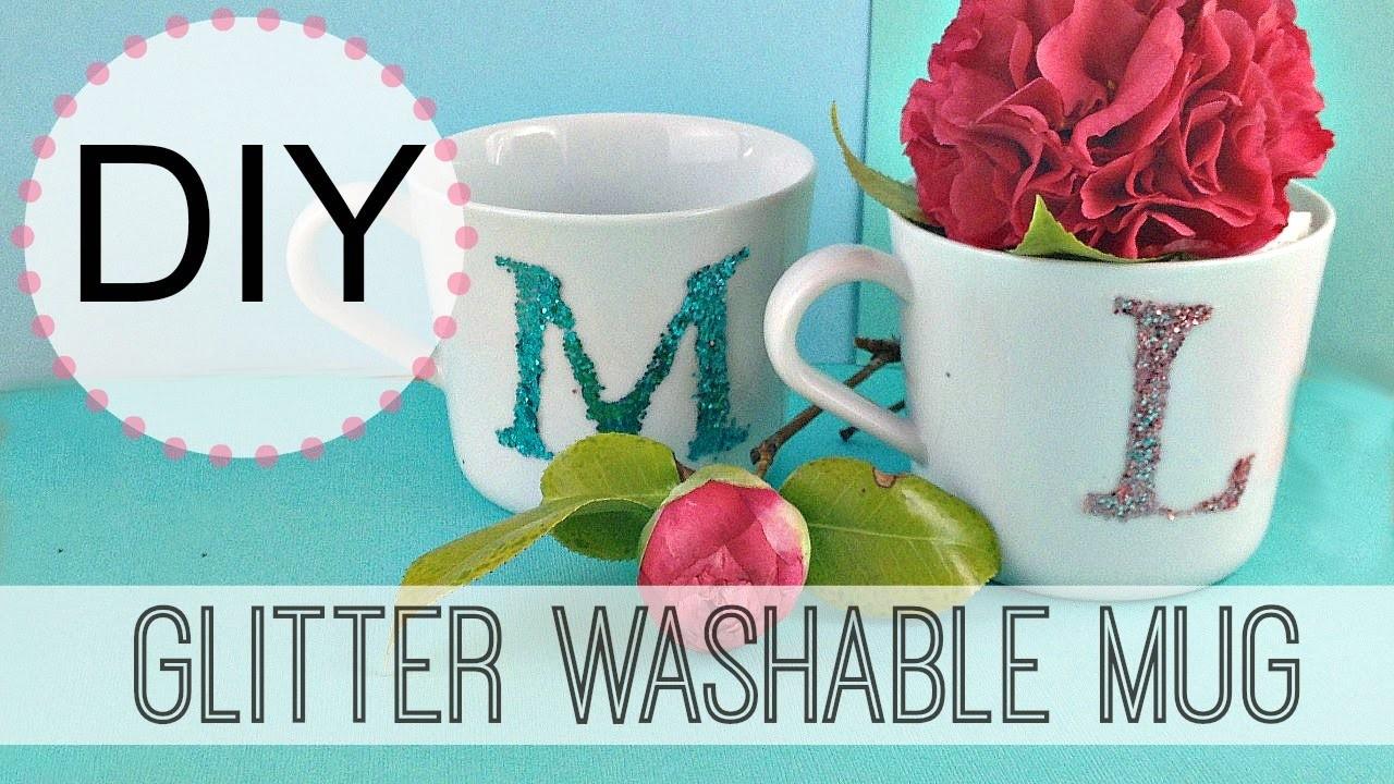 DIY Washable Glitter Initial Mug | by Michele Baratta