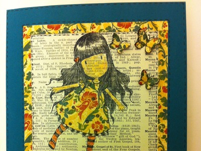 Gorjuss Card - try stamping on to old book pages