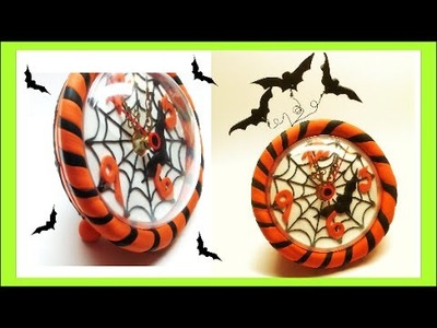 Halloween clock. relogio halloween- Polymer clay (Fimo) Tutorial
