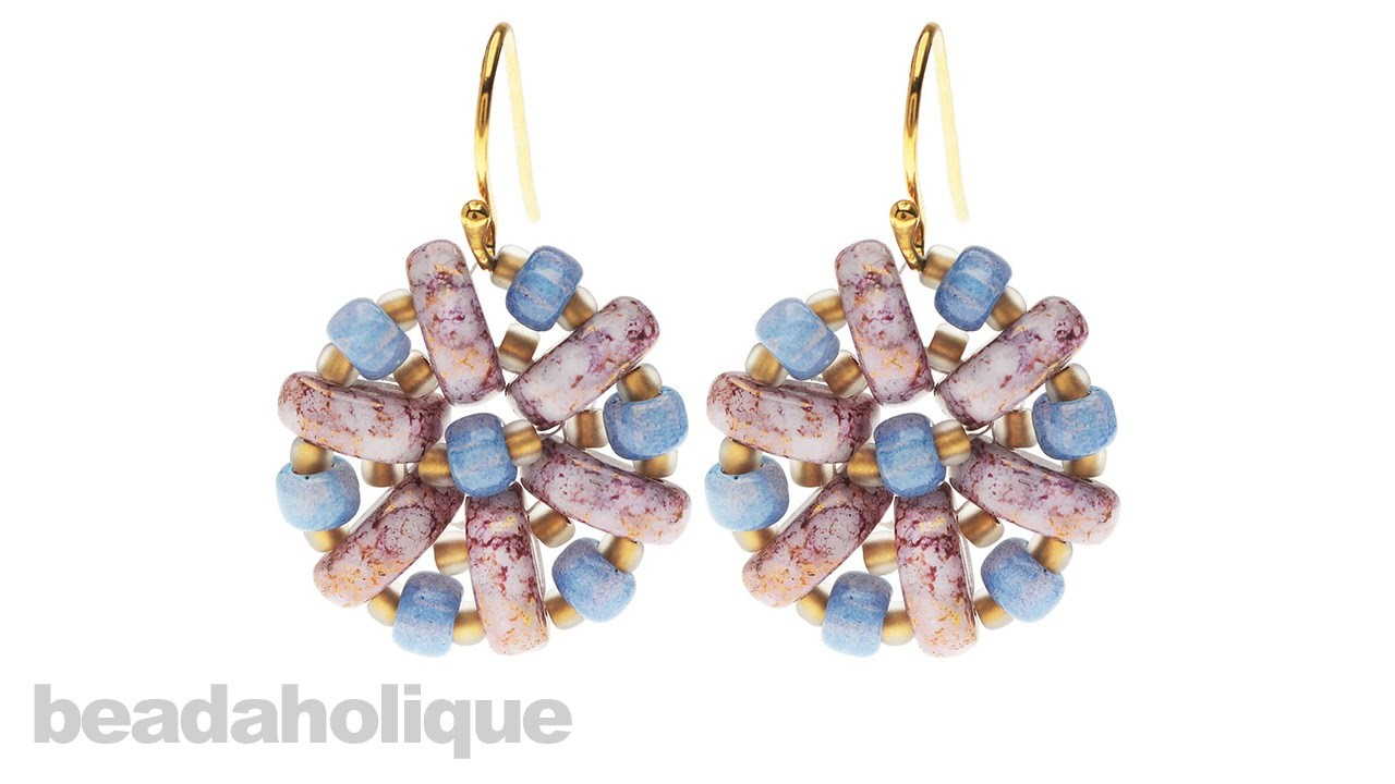 How to Bead Weave a Flower using Czech Glass 2-Hole Half Moon Beads