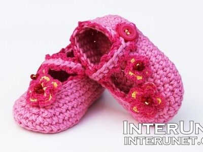 How to crochet booties for a baby girl - pink shoes with buttons and flowers