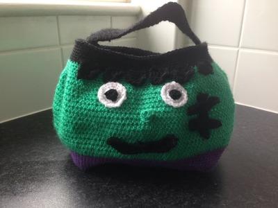 How to crochet halloween frankenstein treat bag