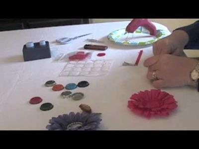 Make A Hair Flower Clip With A Bottlecap Center
