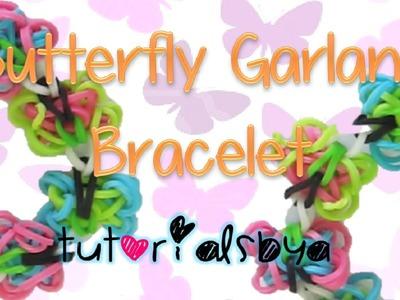 NEW Butterfly Garland Rainbow Loom Bracelet Tutorial